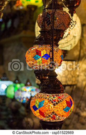 Beautiful Turkish Mosaic Lamps On Istanbul Bazaar.   Csp51522669