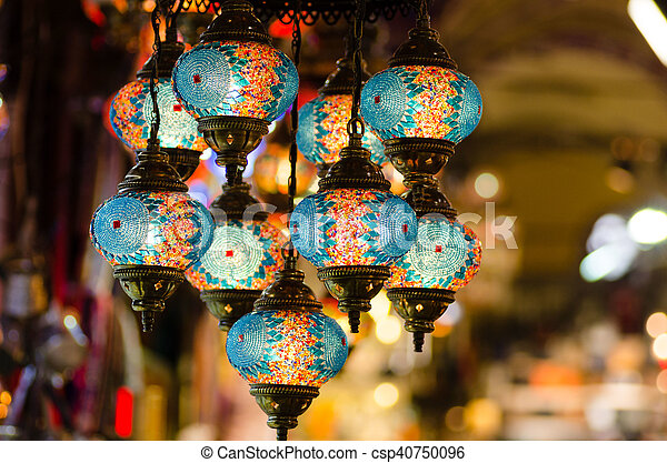 Beautiful Turkish Mosaic Lamps On Istanbul Bazaar   Csp40750096