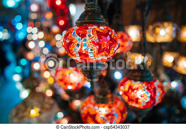 Beautiful Turkish Mosaic Lamps   Csp54343037