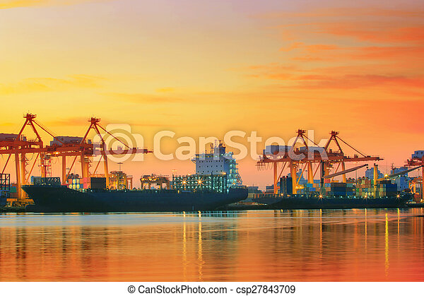 beautiful twilight sky at shipping port use for vessel ,nautical import and export transport logistic industry - csp27843709
