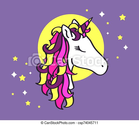 Beautiful unicorn on a background of the moon. - csp74045711