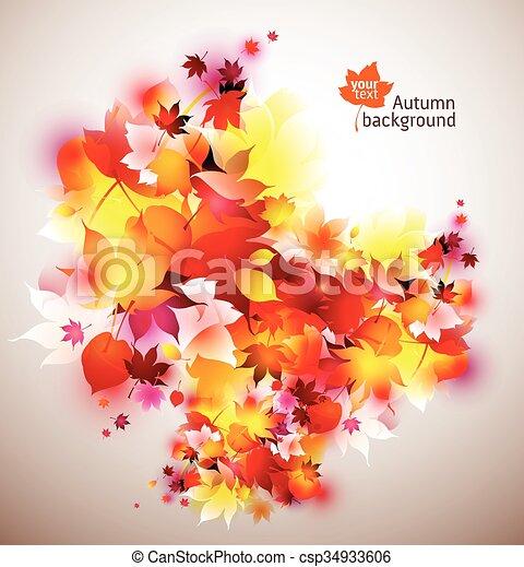 beautiful vector autumn background - csp34933606
