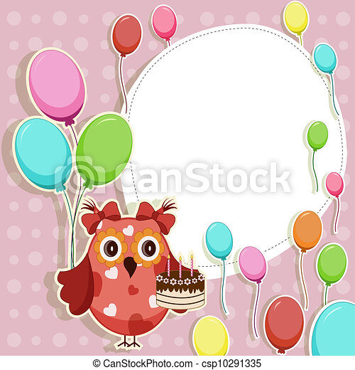 Beautiful vector card with owls - csp10291335