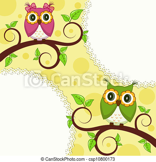 Beautiful vector card with Owls - csp10800173
