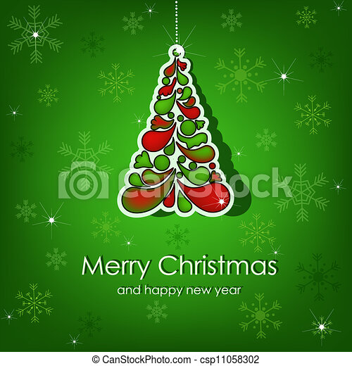 Beautiful vector Christmas card - csp11058302