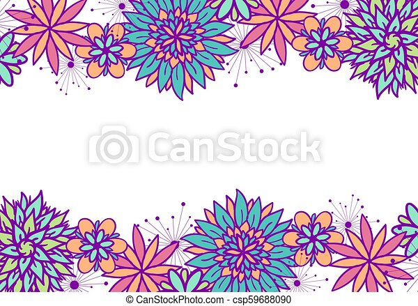 Beautiful Vector Doodle Floral Frame With Flowers In Blue Pink