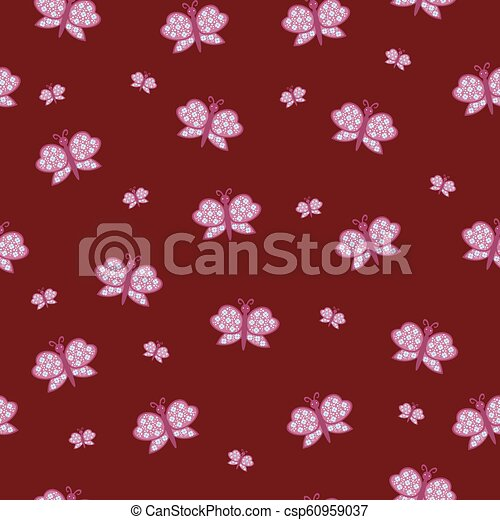beautiful vector pattern with butterfly pink ornaments - csp60959037