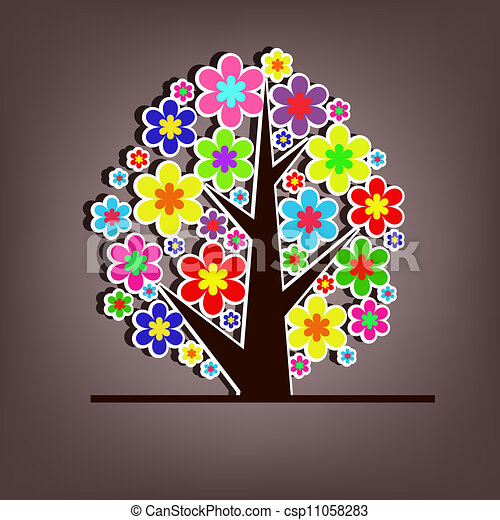 Beautiful vector tree with flowers - csp11058283