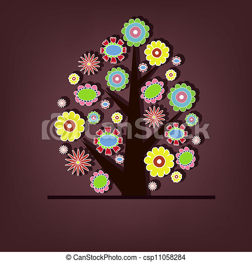 Beautiful vector tree with flowers - csp11058284