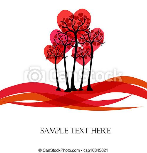Beautiful vector tree with hearts - csp10845821