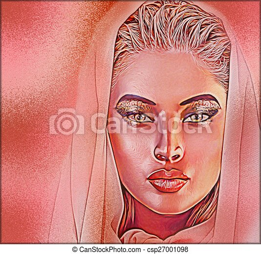 Beautiful veiled woman - csp27001098