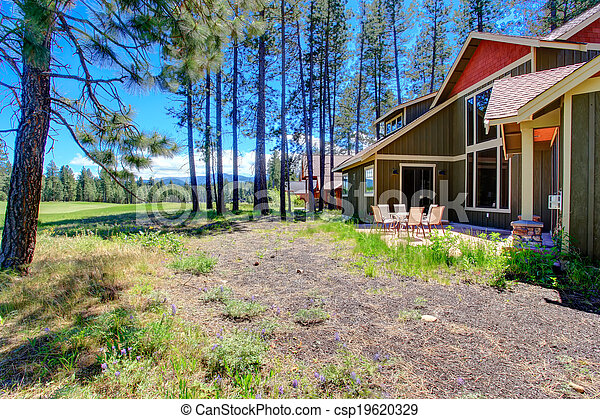 Beautiful view of backyard deck - csp19620329