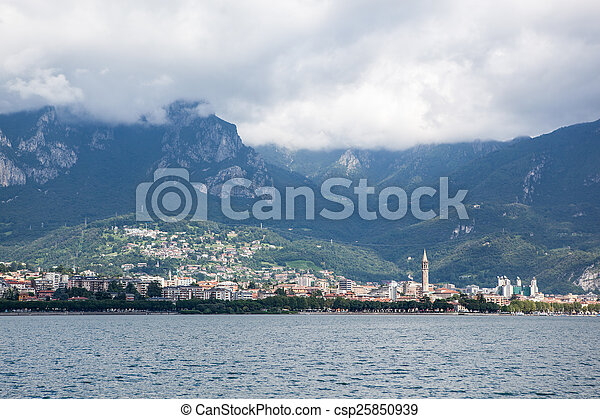 Beautiful view of Lecco on Como lake, Italy - csp25850939