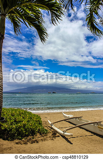 Beautiful View Of Molokai Island From Kaanapali Beach Maui Haw