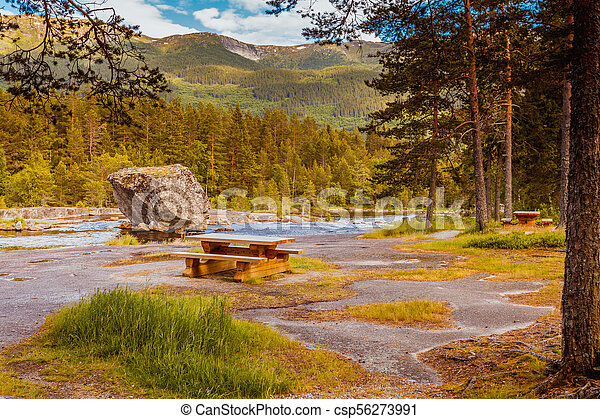 Beautiful view of mountain river in summer - csp56273991