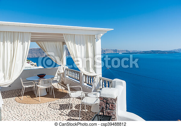 Beautiful view of Santorini island from a terrace - csp39488812