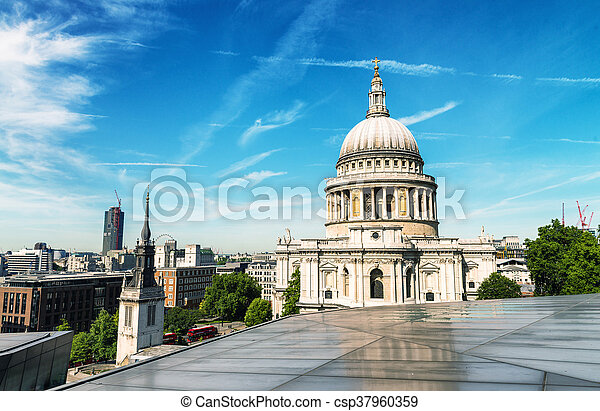 Beautiful view of St Paul Cathedral in London - csp37960359