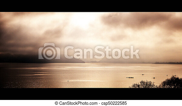 Beautiful view of the Annecy Lake in French Alps in sunset - csp50222585