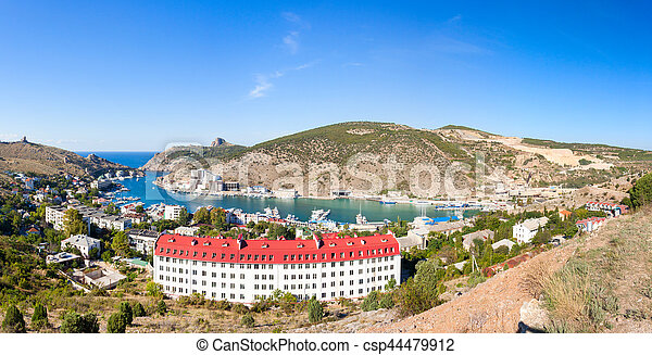 Beautiful view of the Black Sea and the city Balaklava. - csp44479912