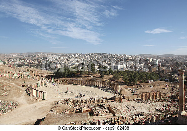 beautiful view of the Oval forum in Jerash ancient city - csp9162438