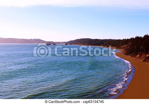 Beautiful view of the Pacific Coast in California, States of America - csp63134745