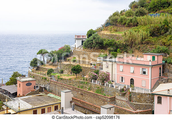 Beautiful view to sea from mountains of Riomaggiore - csp52098176