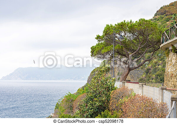 Beautiful view to sea from mountains of Riomaggiore - csp52098178