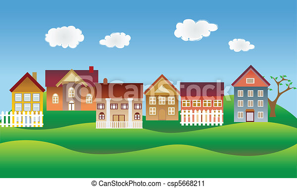 Beautiful village or neighborhood - csp5668211