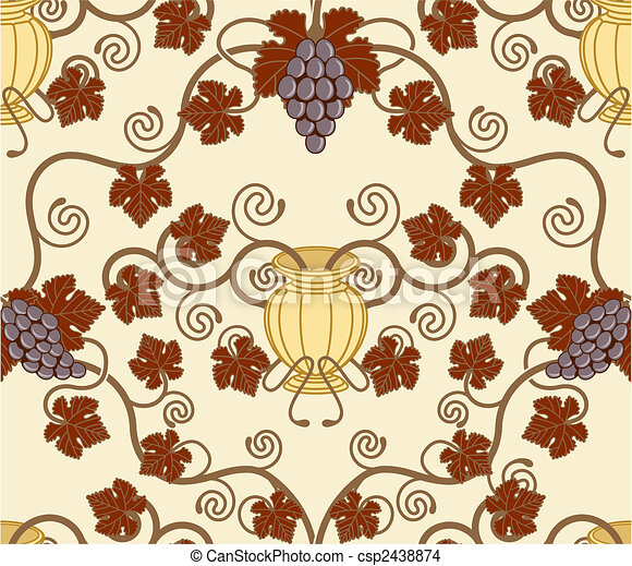 beautiful vine leaf and urn seamless tile design  - csp2438874