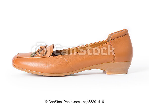 9dbf897694a Beautiful vintage fashion woman leather shoes with side view profile,  isolated on white background.
