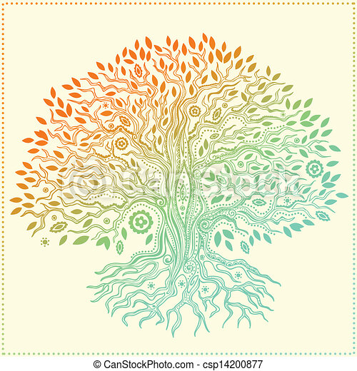 Beautiful vintage hand drawn tree of life - csp14200877