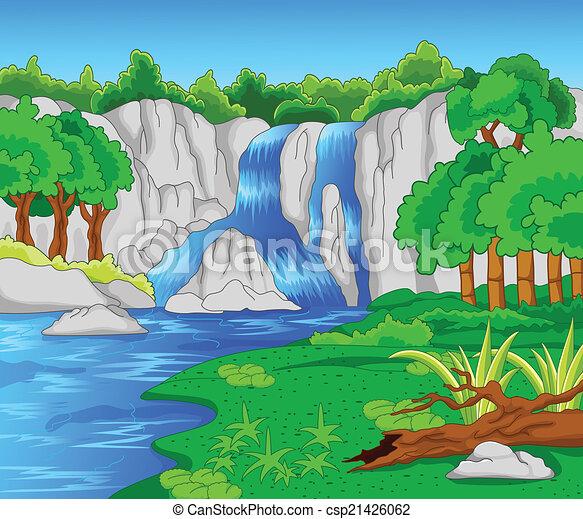 Beautiful waterfall - csp21426062