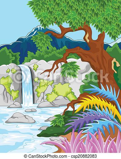 beautiful waterfall - csp20882083