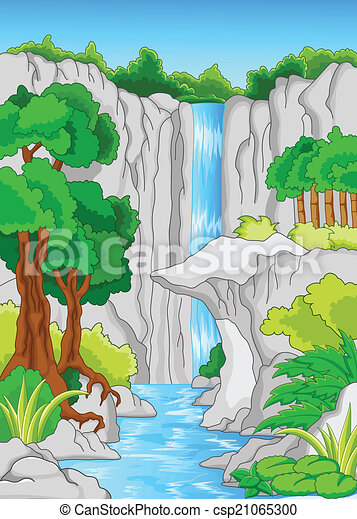 vector illustration of beautiful waterfall vector clipart search rh canstockphoto com waterfall clip art free waterfall clipart images