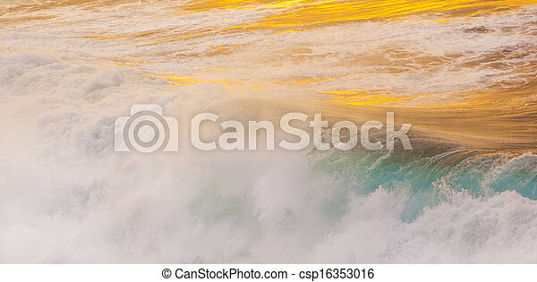 beautiful waves at the beach in sunset - csp16353016