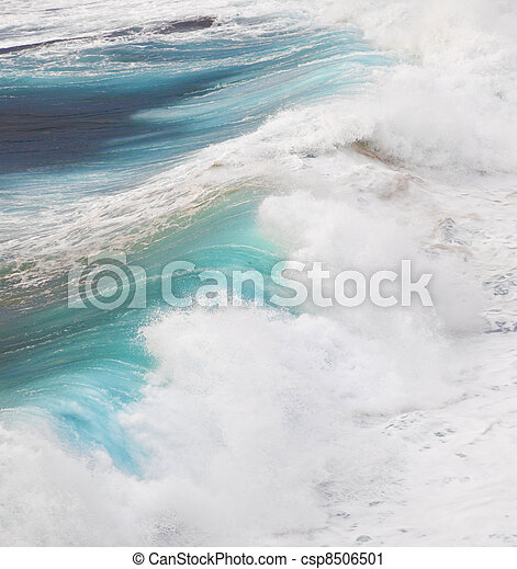 beautiful waves at the beach in sunset - csp8506501