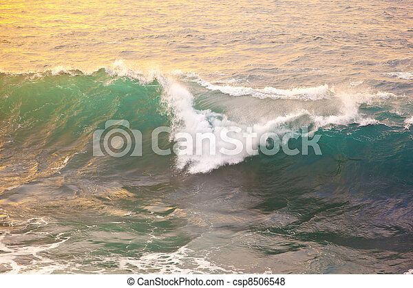 beautiful waves at the beach in sunset - csp8506548