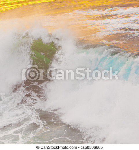 beautiful waves at the beach in sunset - csp8506665