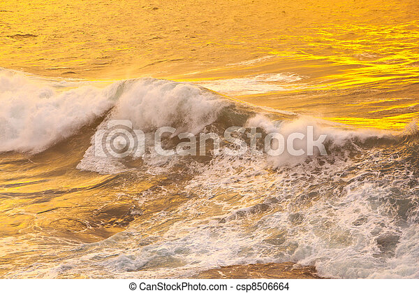 beautiful waves at the beach in sunset - csp8506664