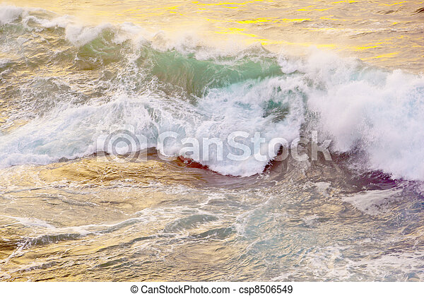 beautiful waves at the beach in sunset - csp8506549