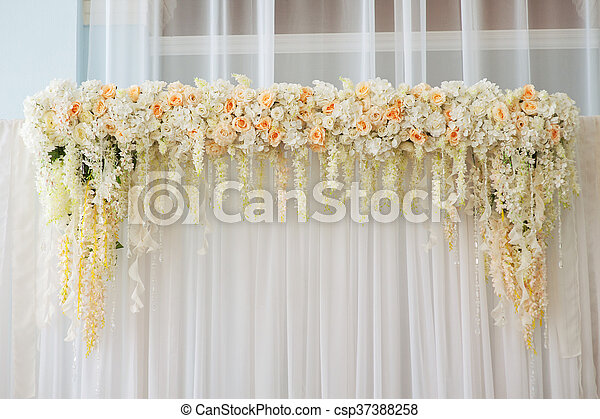 Beautiful wedding arch decorated with pink and white flowers indoors mightylinksfo