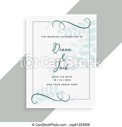 beautiful wedding card design with leaves pattern - csp61224906