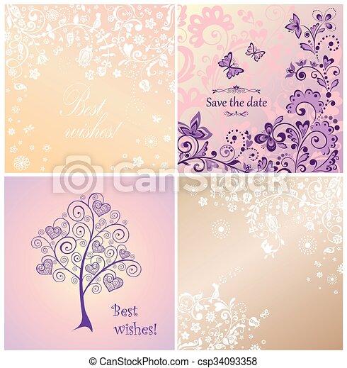 Beautiful wedding cards - csp34093358