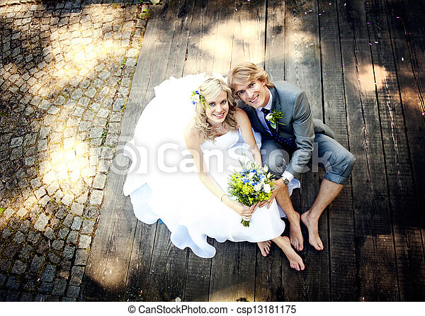 Beautiful wedding couple - csp13181175