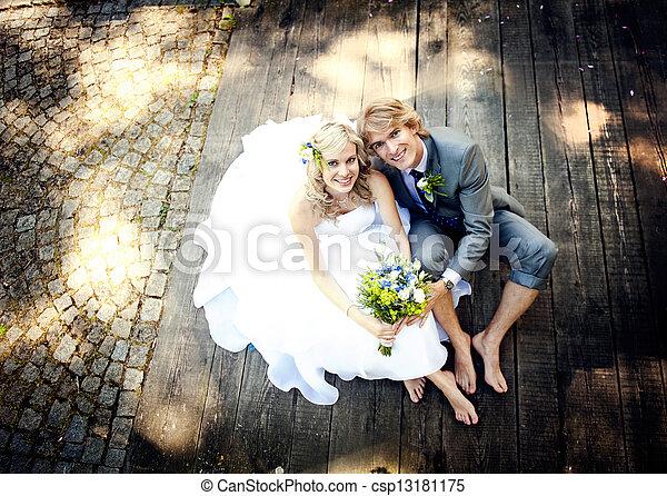 Beautiful wedding couple - csp13181175