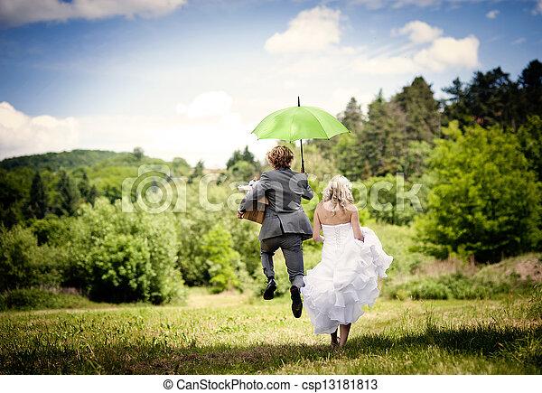 Beautiful wedding couple - csp13181813