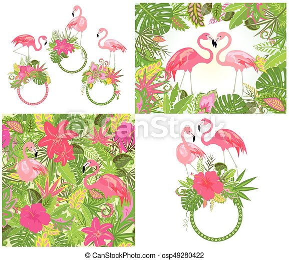 Beautiful wedding design and wallpaper with exotic flowers, tropical leaves and pink flamingo - csp49280422