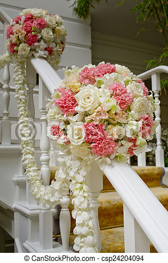 Beautiful wedding flower decoration at stairs beautiful wedding flower decoration at stairs csp24204094 junglespirit Image collections