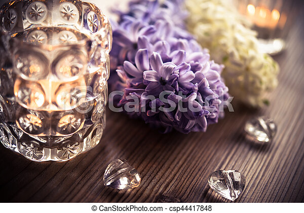Beautiful Wedding Night Decorations Flowers And Candles On Wooden