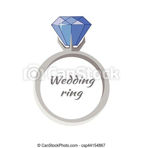 Beautiful Wedding Ring with Blue Gemstone - csp44154867